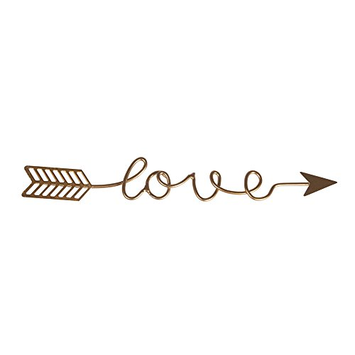 Rayher Hobby 46199616 Metalldeko Schriftzug Love, Gold, 24x3,2x0,2cm