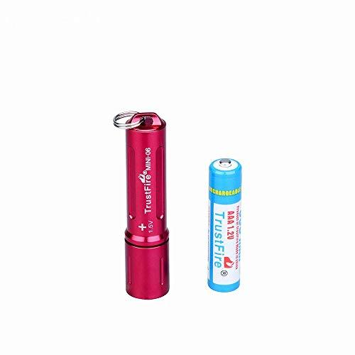 TrustFire MINI-06 Mini LED Linterna 90 lúmenes con Llavero y batería AAA Recargable - Rojo