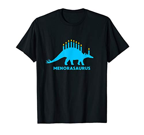Funny Hanukkah Shirt Dinosaur Stegosaurus Dino Menorah Gift