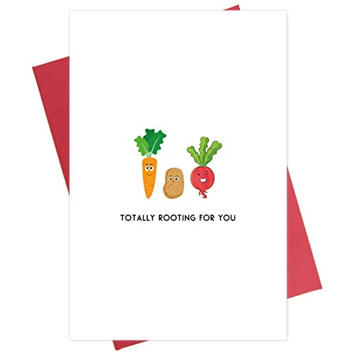 Funny Supportive Good Luck Card, Food Pun Encouragement Card, Totally Rooting for You