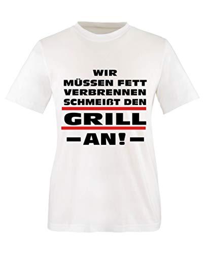 Comedy Shirts - Wir muessen Fett verbrennen. Schmeisst den Grill an! - Mädchen T-Shirt - Weiss/Schwarz-Rot Gr. 134/146