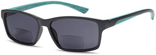 Newvision NV1133 - Gafas bifocales premontadas con lentes oscuras, 100% de protección contra los rayos UV, gafas de sol bifocales para hombre, estilo deportivo +2.00 Verde