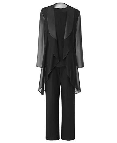 Pretygril Frauen 3 Stück Chiffon Kleid für die Brautmutter Hose mit Schal Jacke(US 20 Plus, Black)