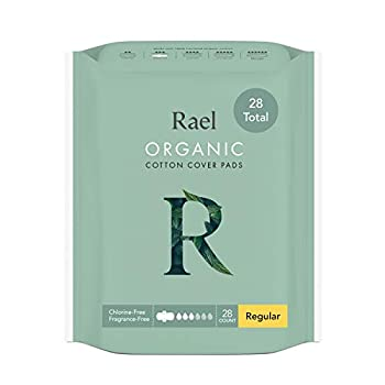 Rael Certified Organic Cotton Menstrual Regular Pads Ultra Thin Natural Sanitary Napkins with Wings  28 Total  28 Count