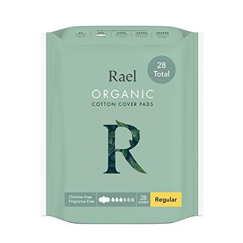 Rael Compresas 100% algodón ecológico, regular ultrafinas con alas - 2 Pack