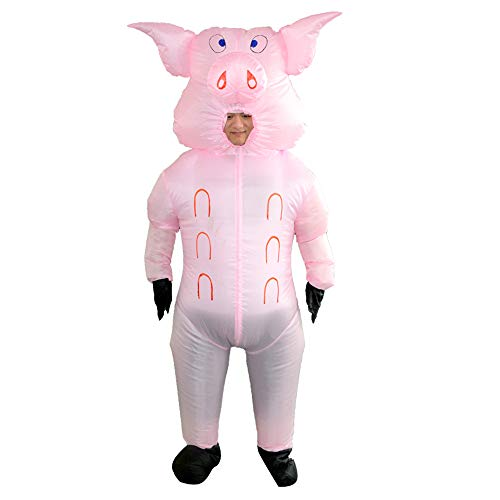 HHARTS Inflatable Pig Costume Blow up Costume Suit Halloween Cosplay Party Christmas Fancy Dress Adult Inflatable Costume, Medium