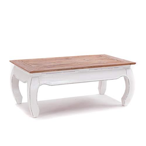 Design OPIUMTISCH East | 100x60x41cm (BxTxH), Mahagoni Recyclingholz | Beistelltisch, Couchtisch aus Vollholz | Farbe: 06 weiß-Landhaus