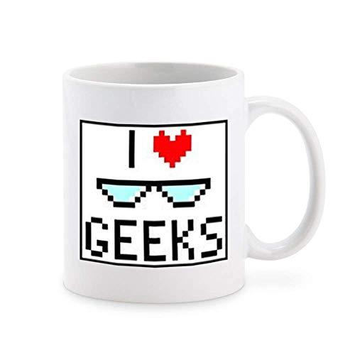 N\A Cute Adorable Sweet Retro Video Game Graphic I Heart Geek Cartoon Icon Tazza da caffè Tazza da tè novità Tazze Regalo 11 oz