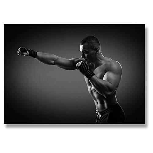 Destination - Fotografia in vinile, 15,2 x 10,2 cm, BW – Boxer Boxing MMA Gym Fitness Art Print 15 x 10 cm, 280 g/mq, carta fotografica lucida satinata #42622