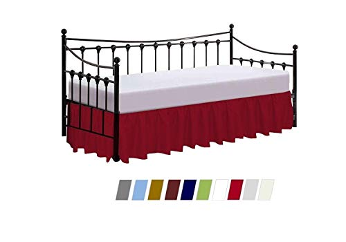 Daybed Skirt Dust Ruffle Split Corners - Ruffled Gathered Bed Skirt for Day Bed - Three Side Coverage - Made with Brushed Microfiber - 14 Inch Drop - (Twin Size/Burgundy Solid)
