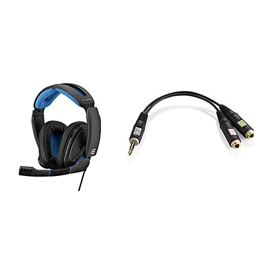 Sennheiser GSP 300 Closed Acoustic Gaming Headset - Black/Blue, Around Ear & PCV 05 Combo Audio Adapter for PC Gaming Headsets - Black