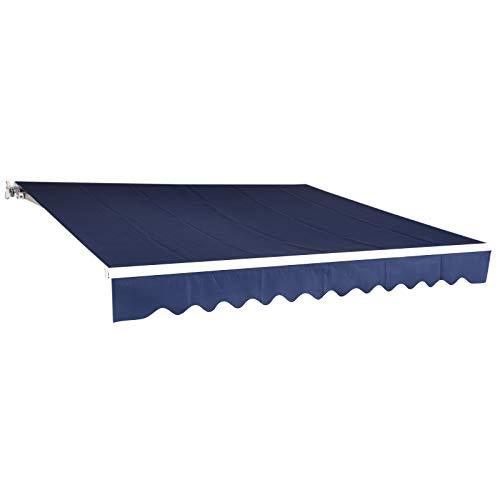 MCombo 13x8 Feet Manual Retractable Patio Door Window Awning Sunshade Shelter Outdoor Canopy (Dark Blue)
