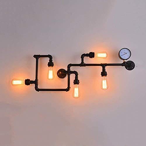 JINGJING Bañador de pared Tubo de agua forjado de viento industrial DH?Monting creatividad personalidad balcón restaurante bar cafetería iluminación iluminación linterna luces (color: negro-6 lámpara)