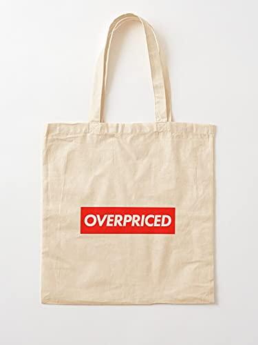Overpriced Shapes Red Banner Square Cheap - Bolsas de lona con asas de algodón duradero