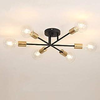 ZQLQU Modern Chandelier Artificial Satellite Light Semi-embedded Ceiling Light Brushed Antique Golden Lighting 6 Lights No...