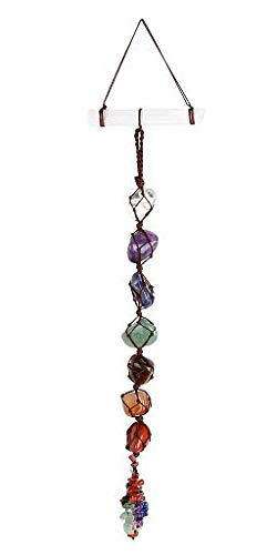Jovivi 7 Chakra Tumbled Gemstones Feng Shui Crystal Window Hanging Ornament Selenite Stick Healing Wand Home Car Decoration For Reiki Healing Yoga Meditation,Crystal Therapy,Worry Palm Stones