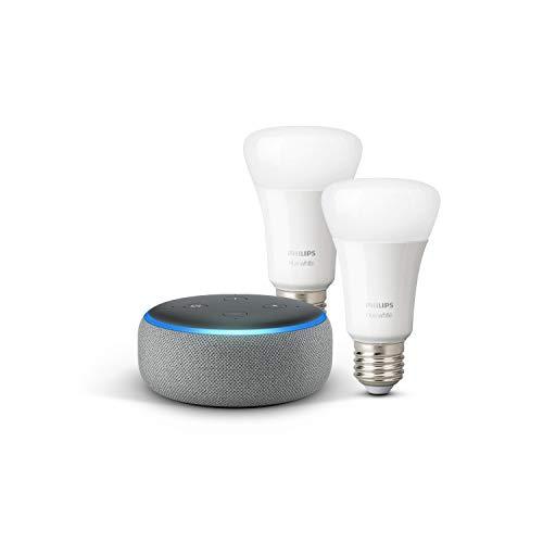 Echo Dot (3ª generazione) - Tessuto grigio mélange + Lampadine intelligenti a LED Philips Hue White, confezione da 2 lampadine, compatibili con Bluetooth e Zigbee (non è necessario un hub)