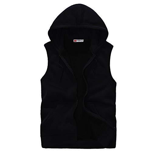 Zarupeng heren dun vest met capuchon, casual herfst winter effen katoen vest dik sweatvest tops outdoor sport jas blouse