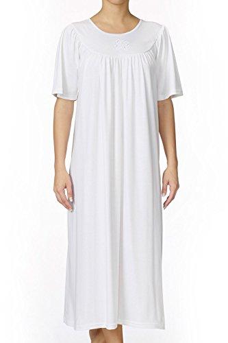 Calida Damen Soft Cotton Kurzarm Nachthemd, Weiß, 40-42