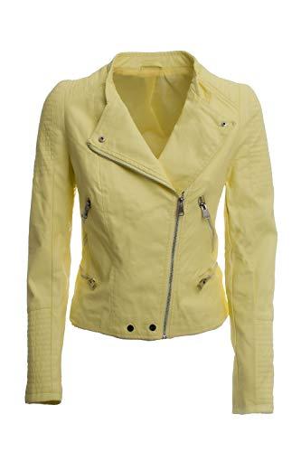 JOPHY & CO. Chaqueta corta doble pecho mujer ecopiel amarillo bolsillos con cremallera (cód. 2502)