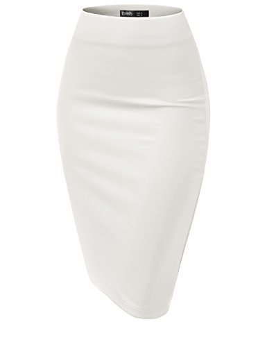 TWINTH Pencil Skirts Plus Size Casual Skirt Elastic Waist Band Scuba Streychy Solid Color White Medium