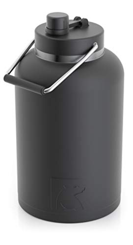 RTIC Jug, 1 Gallon, Black Matte, Vacuum Insulated Large Water Bottle, with Handle
