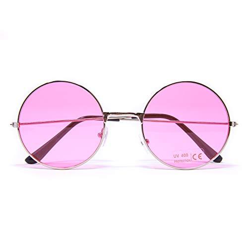 Oblique Unique® Hippie Brille John Lennon Retro Sonnenbrille Rund für 60er 70er Jahre Party Flower Power Kostüm Accessoire Fasching Karneval Herren Damen (Rosa)