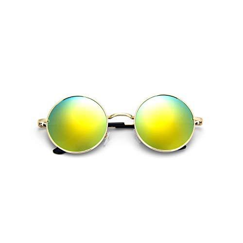 Preisvergleich Produktbild Pik Retro Vintage Schwarz Silber Gothic Steampunk Runde Metall Sonnenbrille für Männer Frauen Spiegel Kreis Sonnenbrille Männlich Oculos