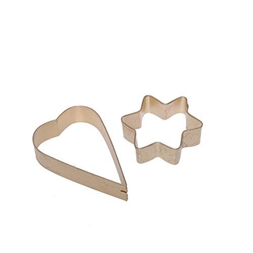Deco uitsteekvormpjes goud ster & hart - kerstversiering - dennenboomdecoratie - advent - tafelversiering - raamdecoratie - 5 + 6,5 cm - 1 VE = 3 x 2 stuks - A102