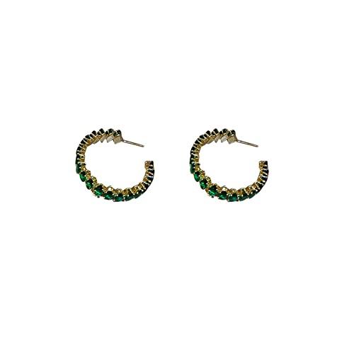 OOCA Pendientes de Cadena de Cristal de Perlas de Aguja de Plata 925 Pendientes de Lujo Ligeros Joyería de Oreja de Mujer Exquisita