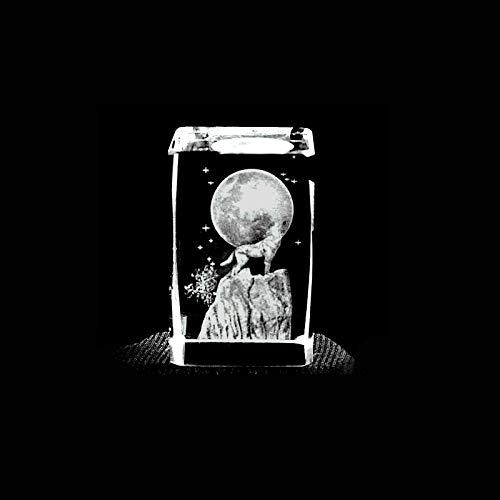 ERN Kristallglas Figur - Wolf & Mond - 3D Laser Glas Skulptur | 45 x 30 x 30mm | Kinder Nachtlicht | Deko & Geschenkidee