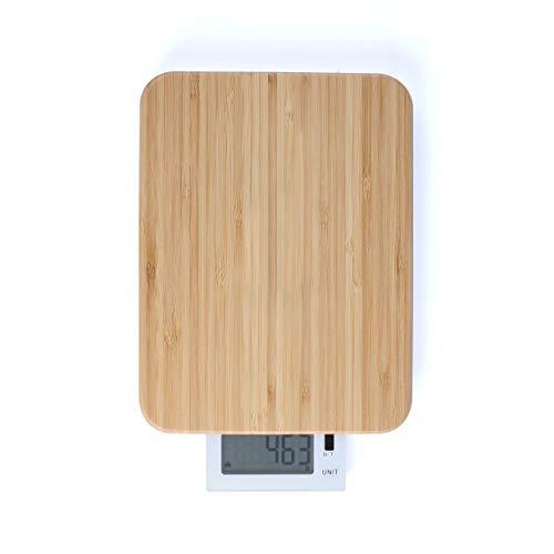 Balance de cuisine numérique 2 en 1 Bascule Planche à découper Bambou Bois Écran LCD 6457