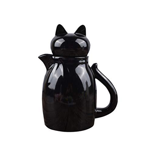 Salsera Blanca Creamer, de cerámica Jarra de negro y, Olla con tapa, Café Leche Copas Creamer, Pitcher para cenas, comidas navideñas y fiestas (Color : Black)