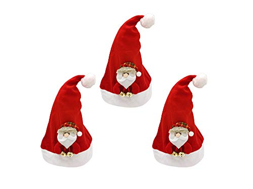 Pack 3 Gorro Papá Noel de Navidad de Santa Claus con Muñeco de Papá Noel y Campanilla Sombreros Rojos Navideño de Invierno para Fiesta Festiva de Año Nuevo para Adultos y Niños