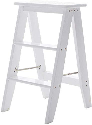 QTQZDD opvouwbare ladders van hout, multifunctioneel, draagbaar, 3-traps trapstoel, huishoudladder, licht tuingereedschap, max. laadvermogen 150 kg (kleur: wit).