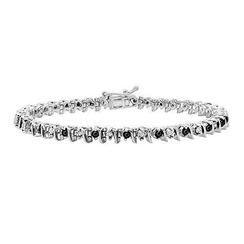 0.40 quilates (ctw) Alternate Round Black & White Diamond Pulsera de tenis para mujer, 925 Sterling..