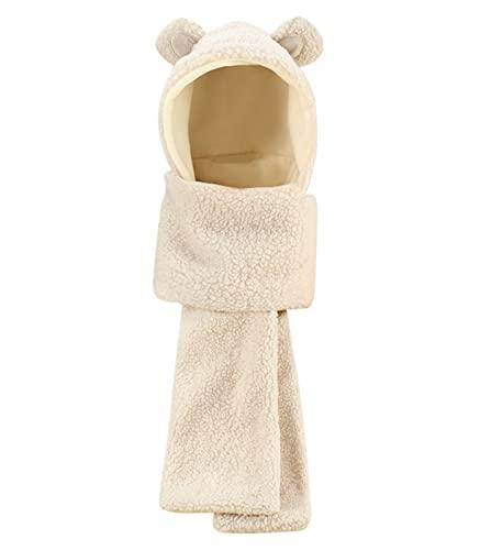 HELOET Bufanda de sombrero de Ushanka de la oreja del gato al aire libre de las mujeres, beige-M