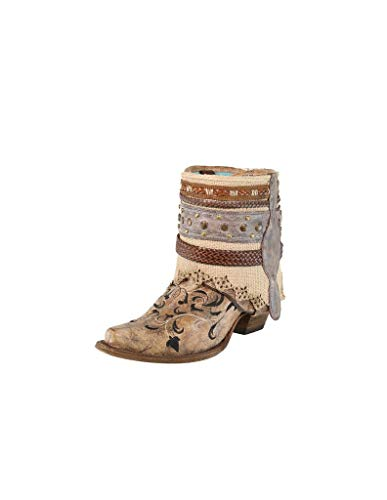Corral Ld Cognac Flipped Shaft & Straps & Jute Strapped Rug Ankle Boot ,Size 8