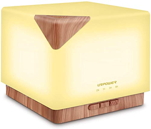 URPOWER Square Aromatherapy Essential Oil Diffuser Humidifier, 700ml Large Capacity Modern Ultrasonic Aroma Diffusers Running 20+ Hours with Adjustable Mist Mode/4 Timer Settings for Home Office Study