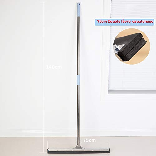 Rakel Mop Hard Floor Cleaning Professiona RVS Extra-brede Vloerwisser Rubberschuiver Rubber Multi-purpose met metalen Pole 45cm, 75cm (Size : 75cm)