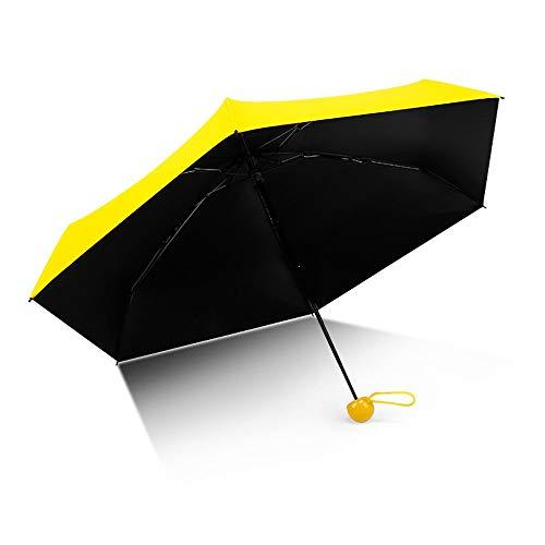 HUIHUAN Mini Cápsula de viaje Five Fold Umbrella - Paraguas de sombrilla para exteriores compacta y ligera para hombres y mujeres