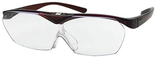 拡大鏡 ルーペ 1.4倍 ハネアゲタイプ Face Trick glasses ダークワイン 両手が使えるメガネ型拡大鏡FTL03-5