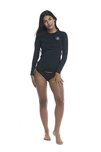 Body Glove Women's Sleek Solid Long Sleeve Rashguard with UPF 50+, Smoothies Black, Medium