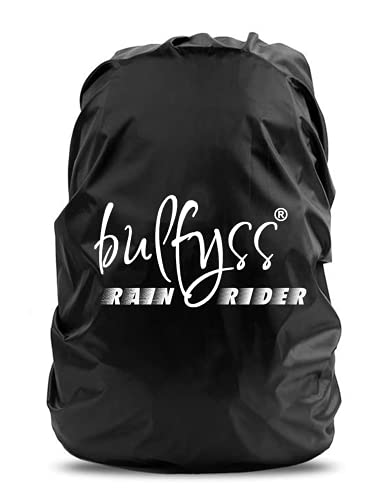 Bulfyss Rubberized 100% Waterproof Dust Proof Rain Cover for Backpack Bags, 30L-40L Rainproof Dustproof Protector Raincover Elastic Adjustable for Hiking Camping Traveling Climbing Cycling, Black