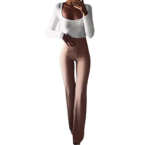 Las mujeres Sólidas Elasticidad Leggings Bell-Bottoms Pantalones De Cintura Alta Llamarada De Pierna Ancho Chic Pantalones Delgados Pantalones Largos
