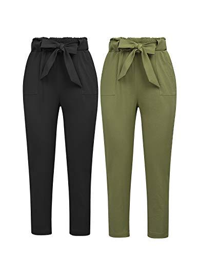 GRACE KARIN Damen Hosen Hosen dünne beiläufige geerntete Papierbeutel Taillen-Hosen mit Taschen X-Large Schwarz + Armee Grün
