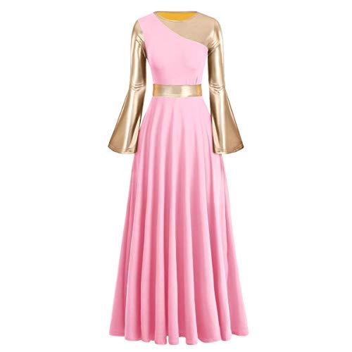 FYMNSI Vestido de danza litúrgica para mujer, de manga larga, estilo campana, color dorado metálico, ajuste holgado, plisado, longitud completa, para salón de baile, celebraciones de espíritu, iglesia