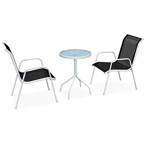 vidaXL Ensemble de Bistro 3 pcs Salon de Jardin Table et Chaises de Salle à Manger Mobilier de Jardin Mobilier à Dîner de Patio Extérieur Acier Noir