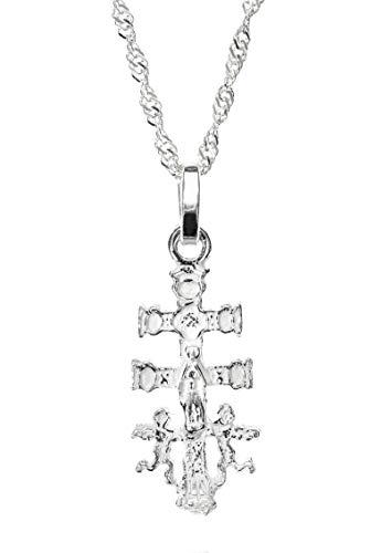 Kreuz Caravaca, Caravaca Kreuz Sterling-Silber mit Kette Singapur 45cm, Anhänger Frau, ein Juwel mit Geschichte
