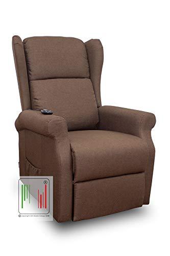 Stil Sedie - Poltrona Relax reclinabile elettrica alzapersona Bergere in Tessuto con Due Ruote MOD Giada (Marrone)